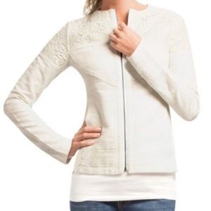 NWOT Cabi #715 White Lace Occasion Zip Up Jacket